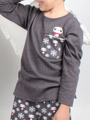 Pijama niño ADMAS panda gris algodón
