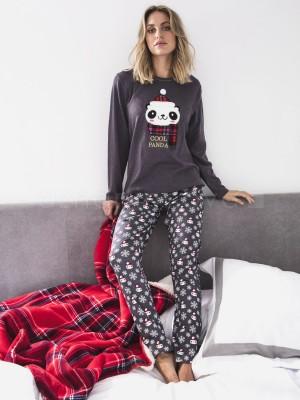 Pijama familiar mujer ADMAS panda gris algodón