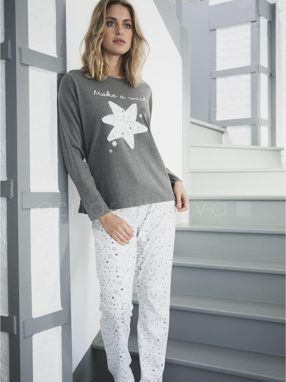Pijama Tallas Grandes Mujer Admas Make A Wish Gris Algodon