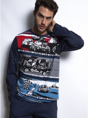 Pijama familiar hombre LOIS Racing League Power azul algodón
