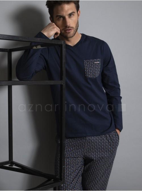 Pijama hombre Antonio Miró Juno azul algodón