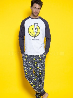 Pijama familiar hombre Smiley world Bowie gris algodón