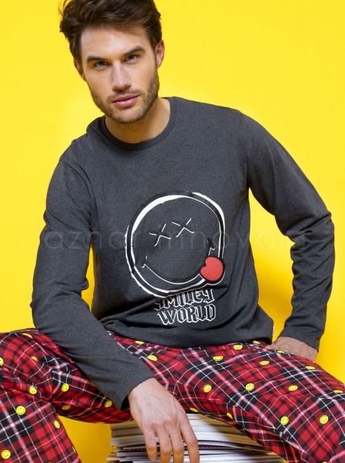 Pijama familiar hombre Smiley Punk cuadros algodón