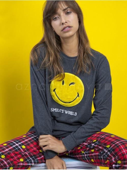 Pijama familiar mujer Smiley Punk cuadros algodón