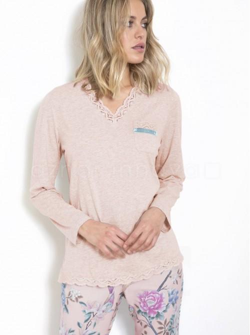 Pijama lencero mujer ADMAS flores punto viscosa