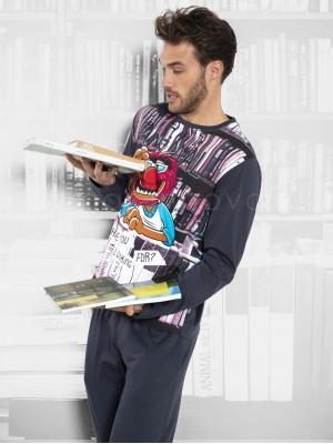 Pijama hombre Disney Animal Library marengo algodón