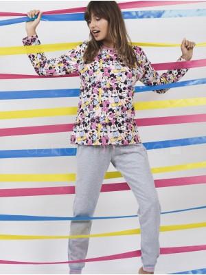 Pijama mujer Disney Minnie puños rosa algodón