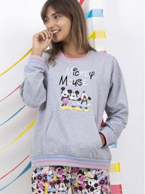 Pijama mujer Disney Mickey Mouse bolsillos gris algodón