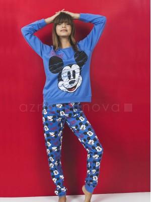 Pijama familiar mujer Disney Mickey puños azul algodón