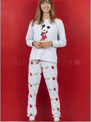 Pijama mujer Disney Mickey bolsillos puños gris algodón