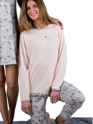 Pijama mujer PETTRUS cat gris punto perchado