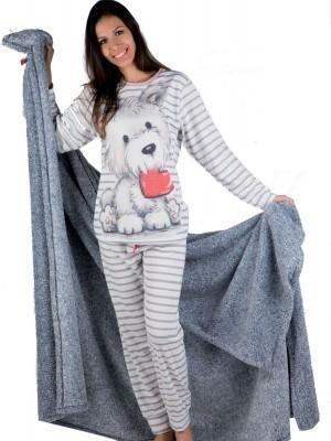 Pijama mujer PETTRUS dog gris punto perchado