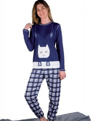 Pijama mujer PETTRUS cuadros azul punto