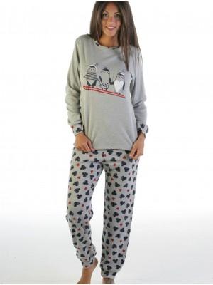 Pijama mujer PETTRUS corazones gris punto perchado