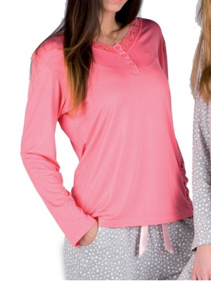 Pijama mujer PETTRUS corazones rosa encaje viscosa