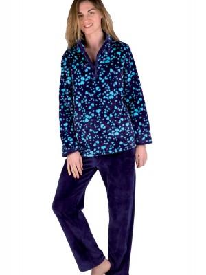 Pijama térmico mujer PETTRUS corazones azul corel