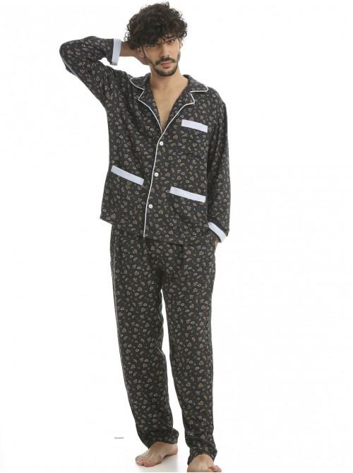 Pijama hombre J&J Brothers cachemir abierto bolsillos viscosa