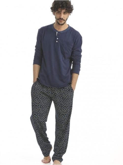 Pijama hombre J&J Brothers azul bolsillos punto algodón