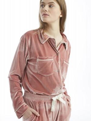 Pijama mujer J&J Brothers rosa abierto bolsillos terciopelo