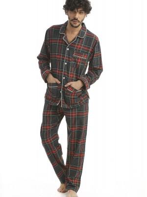 Pijama hombre J&J Brothers cuadros abierto franela