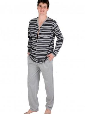 Pijama hombre PETTRUS abierto rayas grises algodón