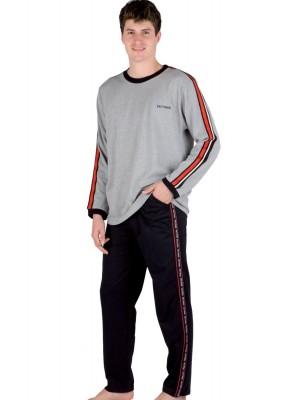Pijama hombre PETTRUS gris bolsillo punto algodón