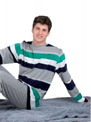 Pijama hombre PETTRUS gris rayas terciopelo