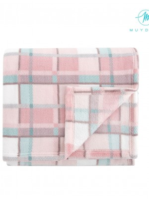 Manta Muydemi Térmica Coralina cuadros rosa 140/250
