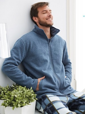 Bata corta térmica hombre MUYDEMI azul algodón y corel