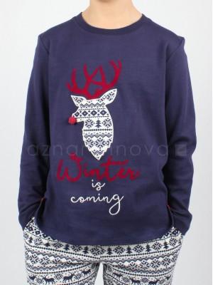 Pijama niño Admas Winter azul felpa algodón