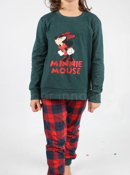 Pijama niña Disney Minnie Mouse winter verde algodón