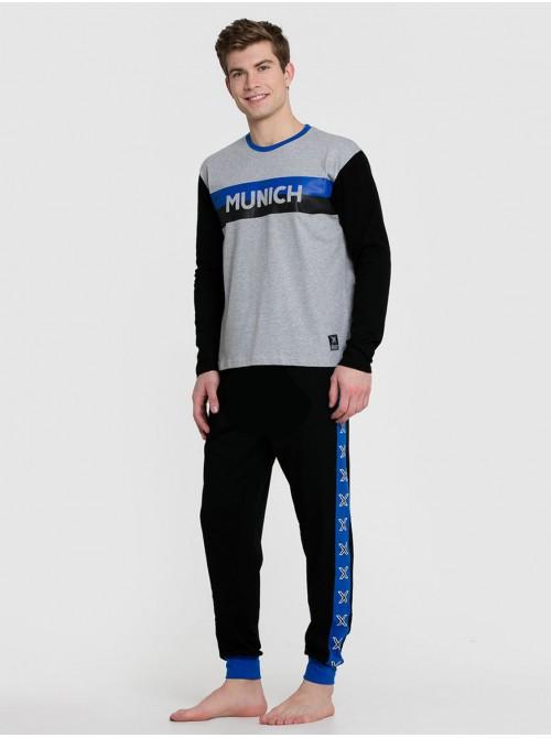 Pijama hombre Munich combinado gris azul algodón