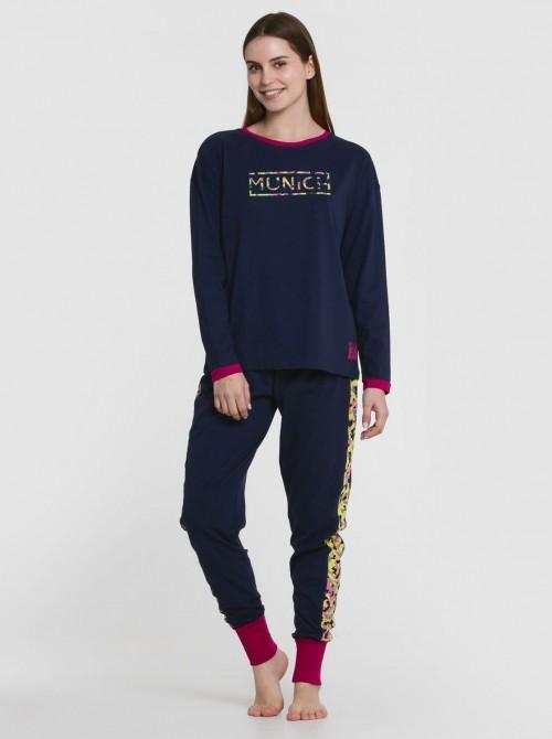 Pijama mujer Munich single azul algodón