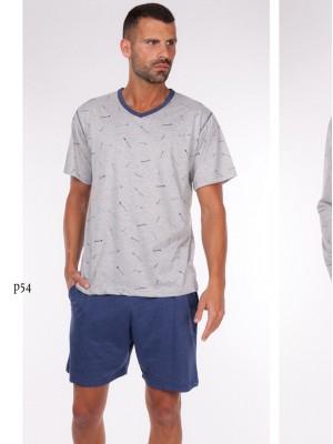 Pijama hombre verano Rachas punto gris