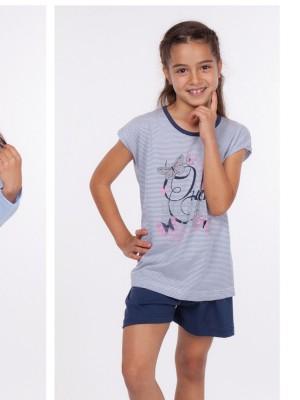 Pijama niña verano Rachas punto azul