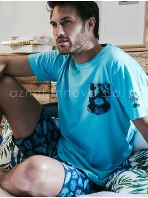 Pijama corto hombre Stay at home Admas turquesa