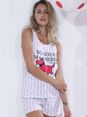 Pijama mujer Admas Lou Lou Algodón blanco corazones