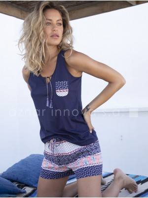 Pijama corto mujer Admas Cenefa azul algodón viscosa