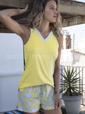 Pijama corto mujer Admas Hippy algodón viscosa amarillo
