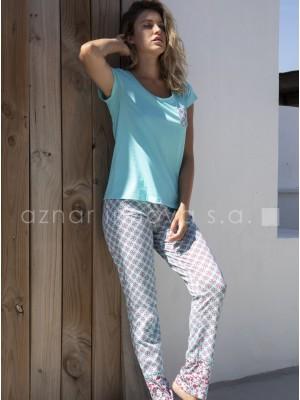 Pijama largo verano mujer Admas Hippy turquesa algodón viscosa