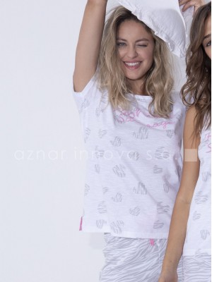 Pijama verano mujer Admas sauvage blanco algodón viscosa