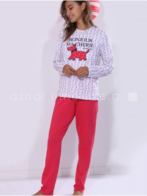 Pijama verano largo mujer Admas Lou Lou blanco corazones algodón