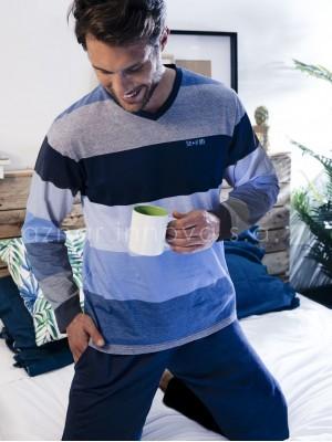 Pijama largo hombre Stay at home Admas algodón azul rayas bolsillos