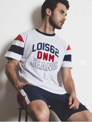 Pijama corto hombre Lois jeans tricolor algodón