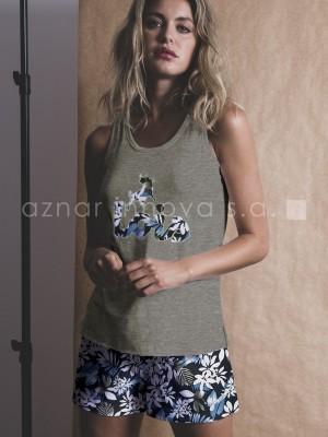 Pijama corto mujer Lois jungle caqui algodón