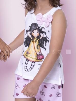 Pijama verano niña Santoro Spring at last blanco rosa algodón