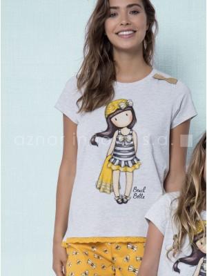 Pijama verano mujer Santoro Beach Belle mostaza algodón