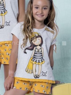 Pijama verano niña Santoro Beach Belle mostaza algodón