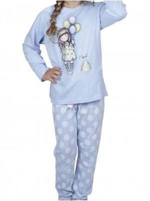 Pijama largo niña Santoro I Wish...azul algodón