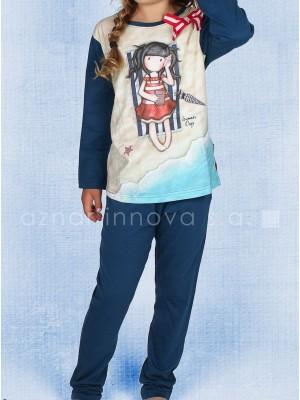 Pijama largo niña Santoro Summer days azul algodón